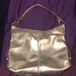 Dooney & Bourke metallic silver hobo bag